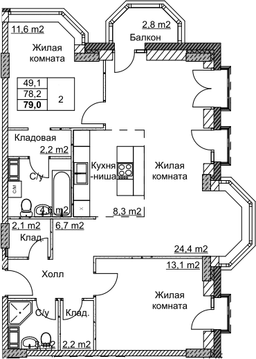 3Е-комнатная, 79.04 м²– 2