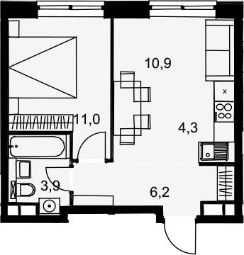 2Е-комнатная, 36.3 м²– 2