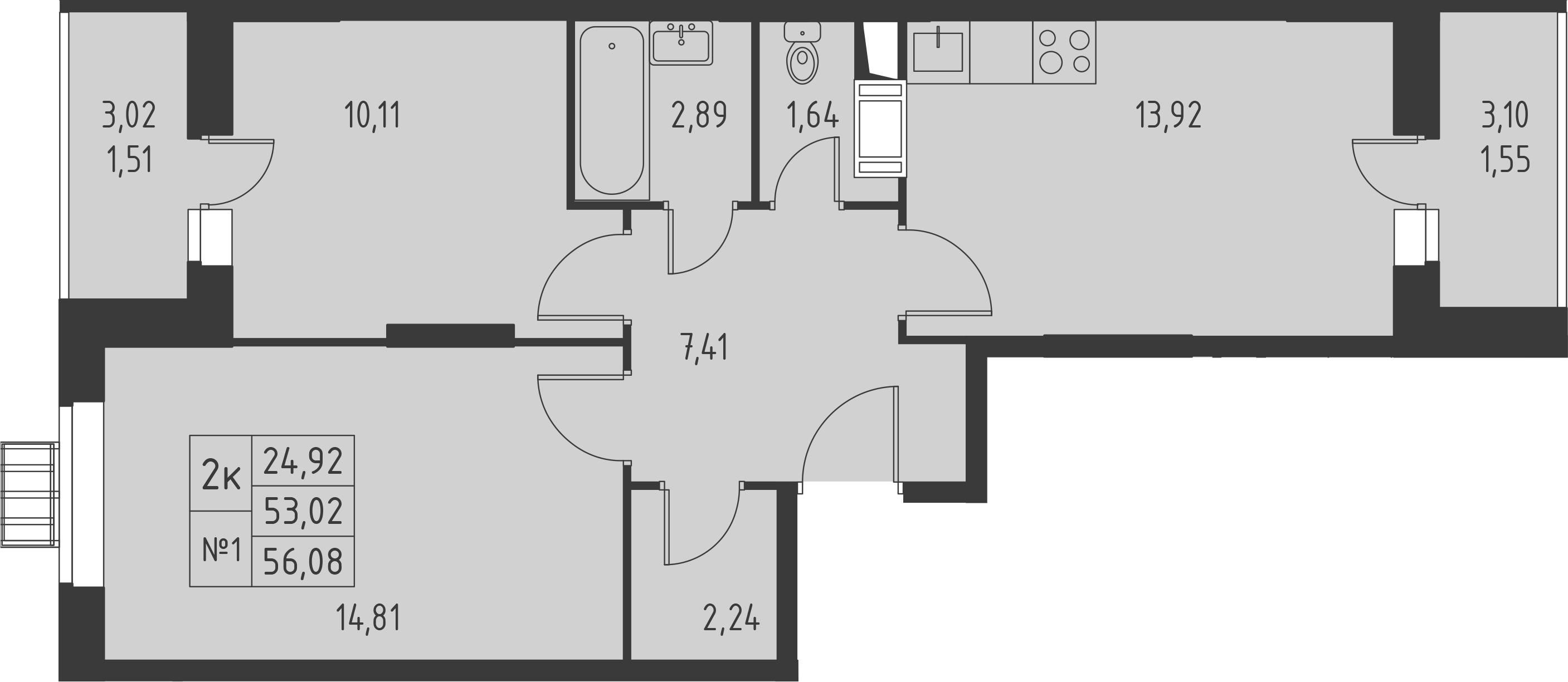 2-комнатная, 56.08 м²– 2