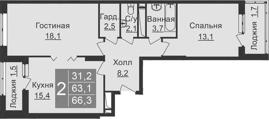 3-к.кв (евро), 69.5 м²