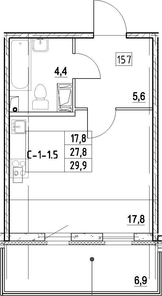 Студия, 29.9 м², 2 этаж