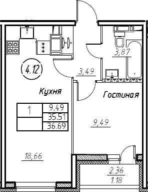 2Е-к.кв, 36.69 м², 18 этаж