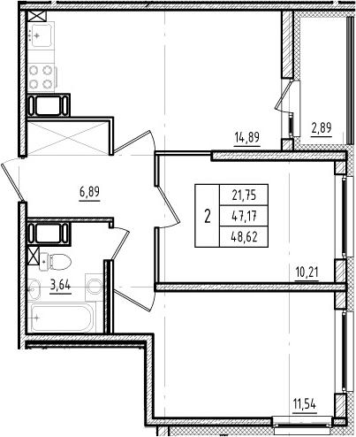 3Е-к.кв, 47.17 м²