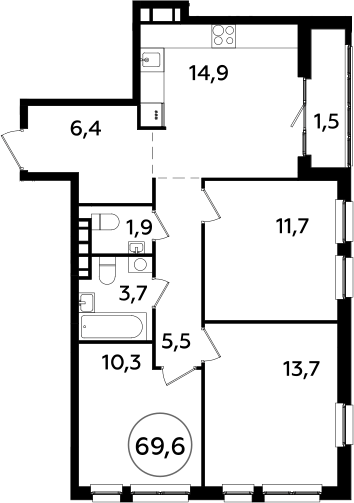 3-к.кв, 69.6 м²