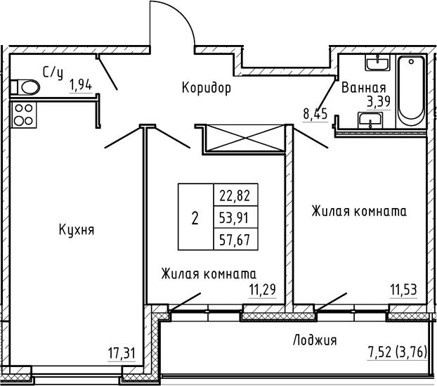 3Е-к.кв, 57.67 м², 1 этаж