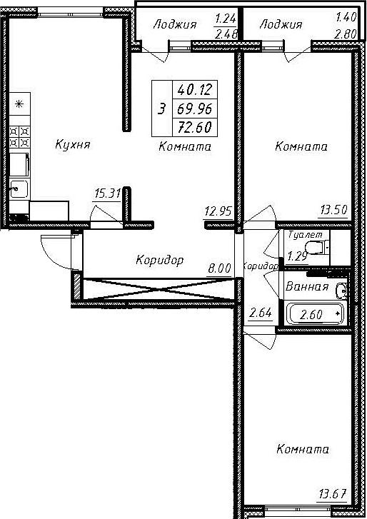 3-к.кв, 75.24 м²