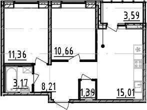 2-к.кв, 49.8 м², 12 этаж