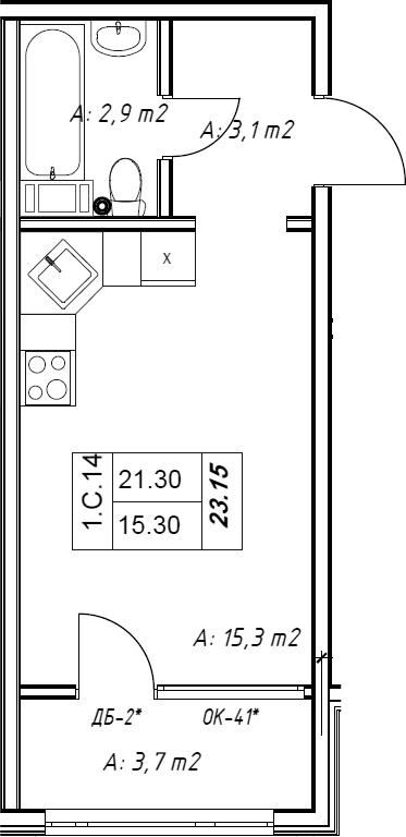 Студия, 22.1 м²