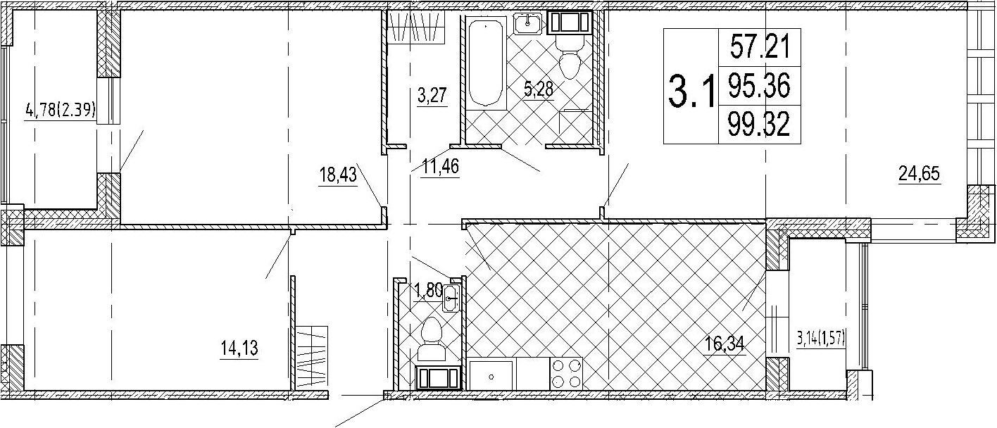 3-к.кв, 103.28 м²