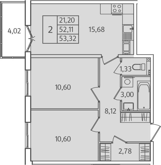 3-к.кв (евро), 56.13 м²