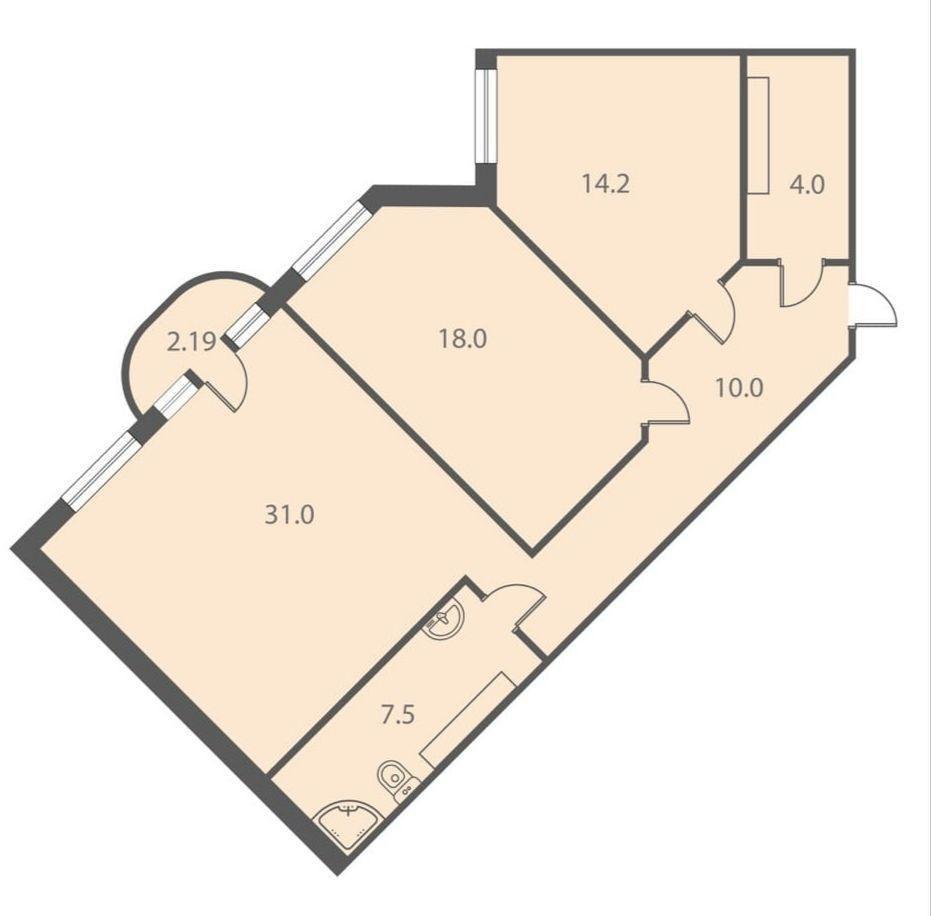 2-к.кв, 86.89 м²