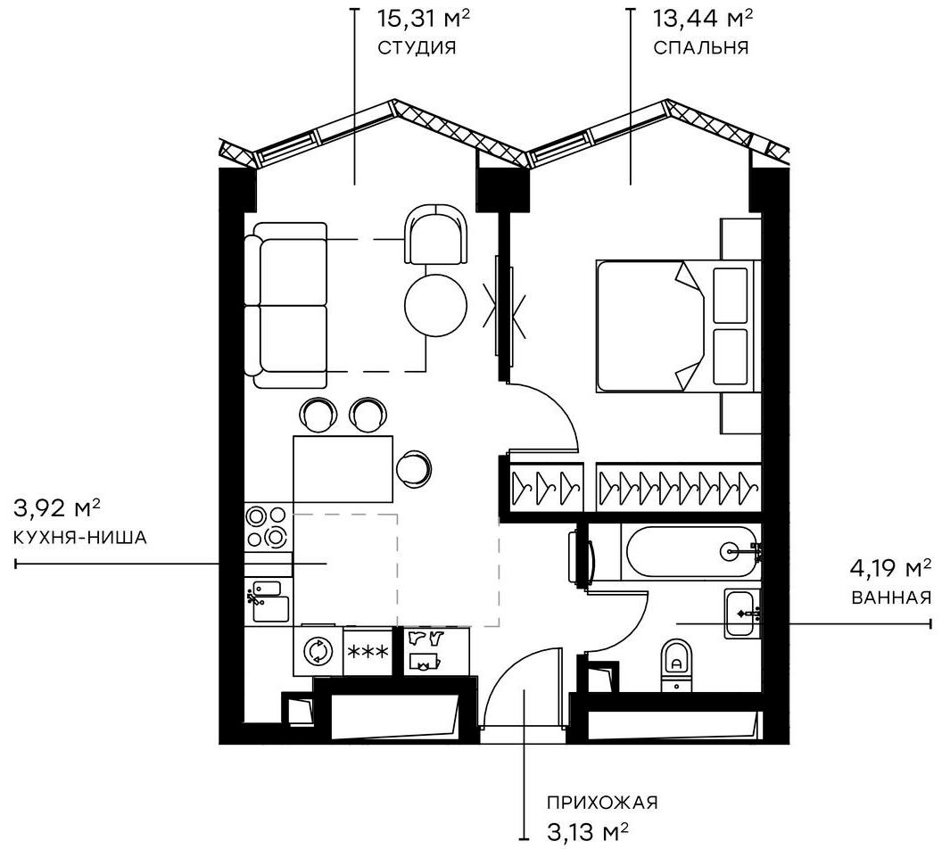 2Е-комнатная, 39.99 м²– 2