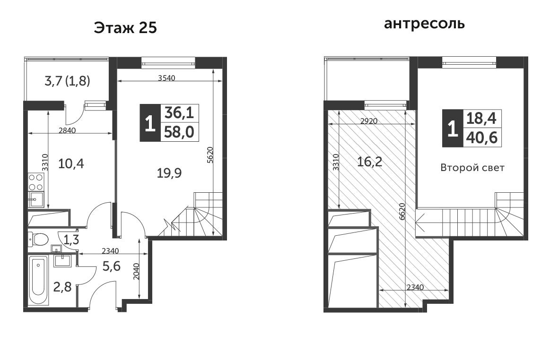 1-к.кв, 59.6 м²