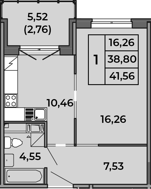 2Е-к.кв, 38.8 м², 4 этаж