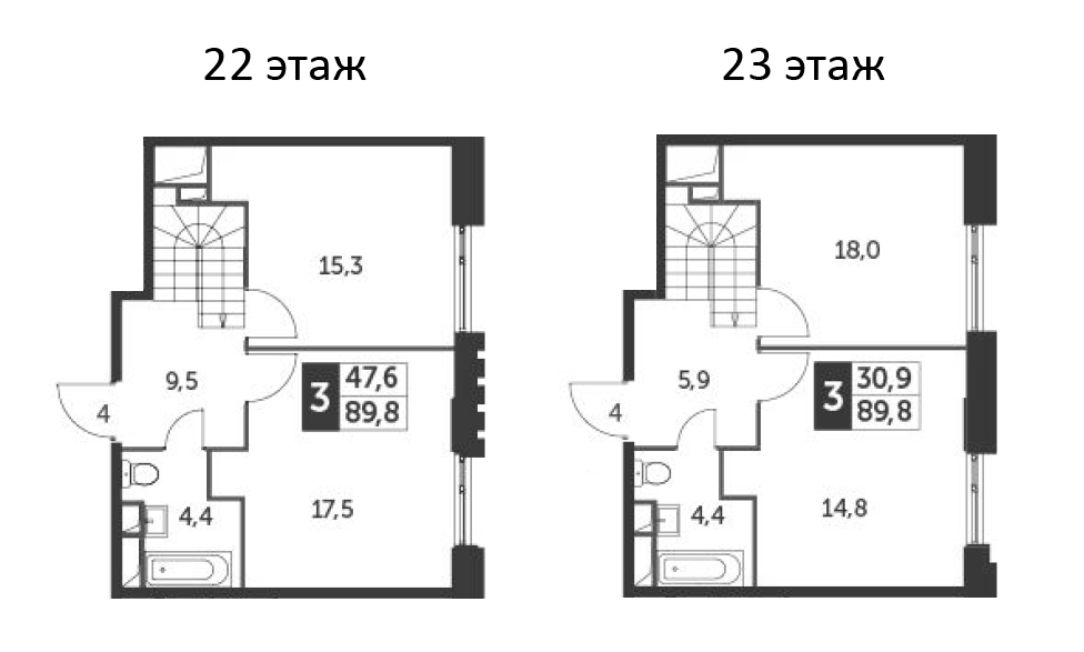 4Е-к.кв, 89.8 м², 24 этаж