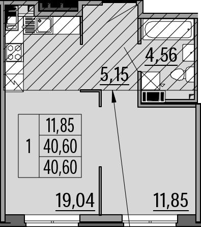 2Е-комнатная, 40.6 м²– 2