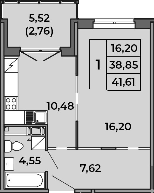 2Е-к.кв, 38.85 м², от 2 этажа