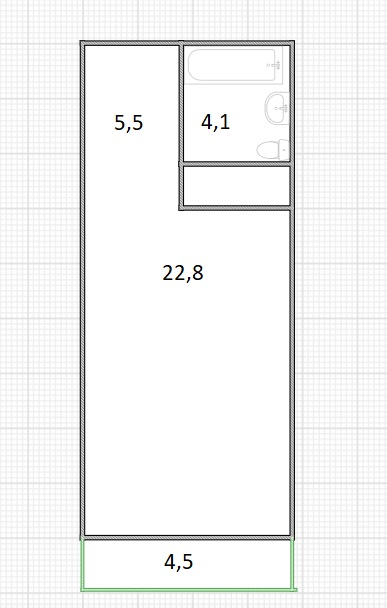 Студия, 36.9 м²