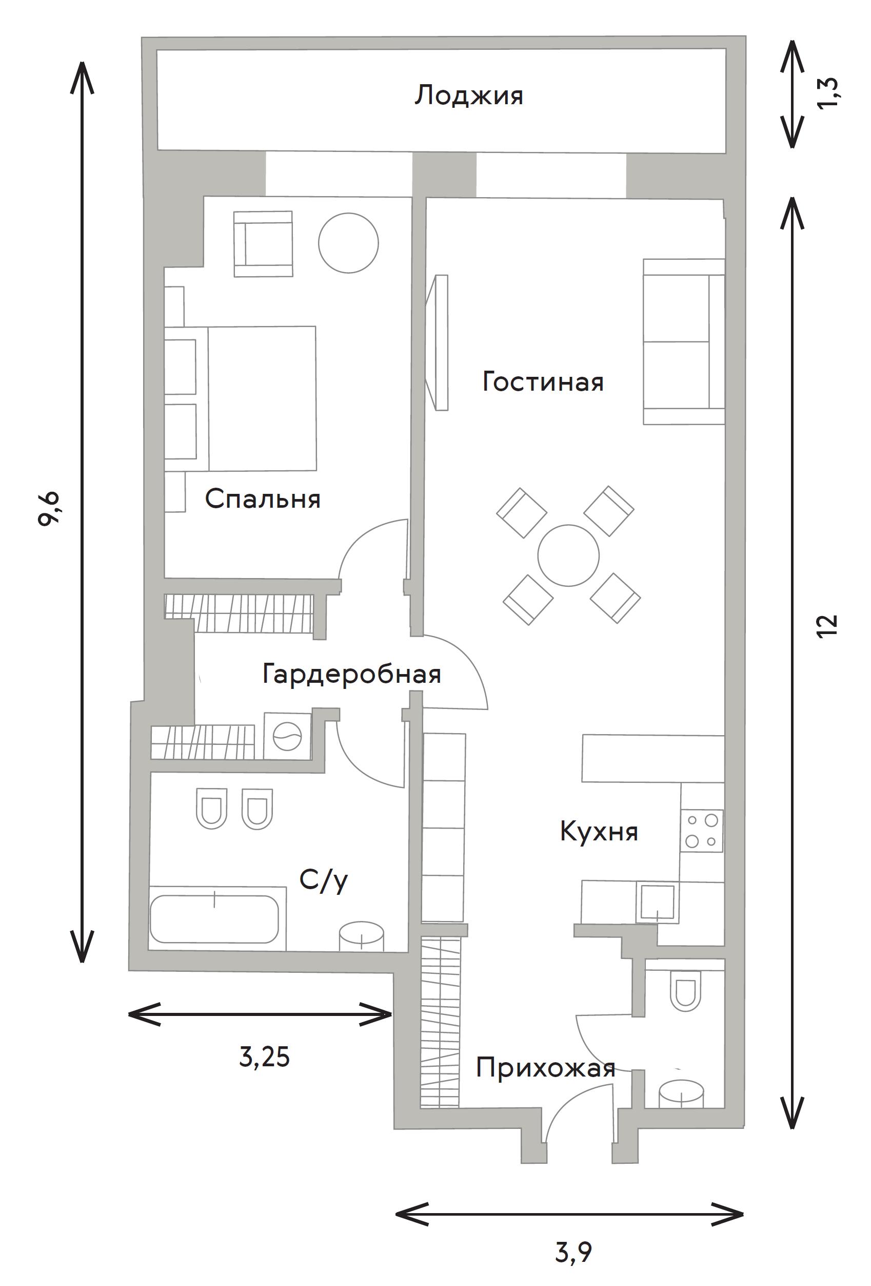 2Е-комнатная, 76 м²– 2