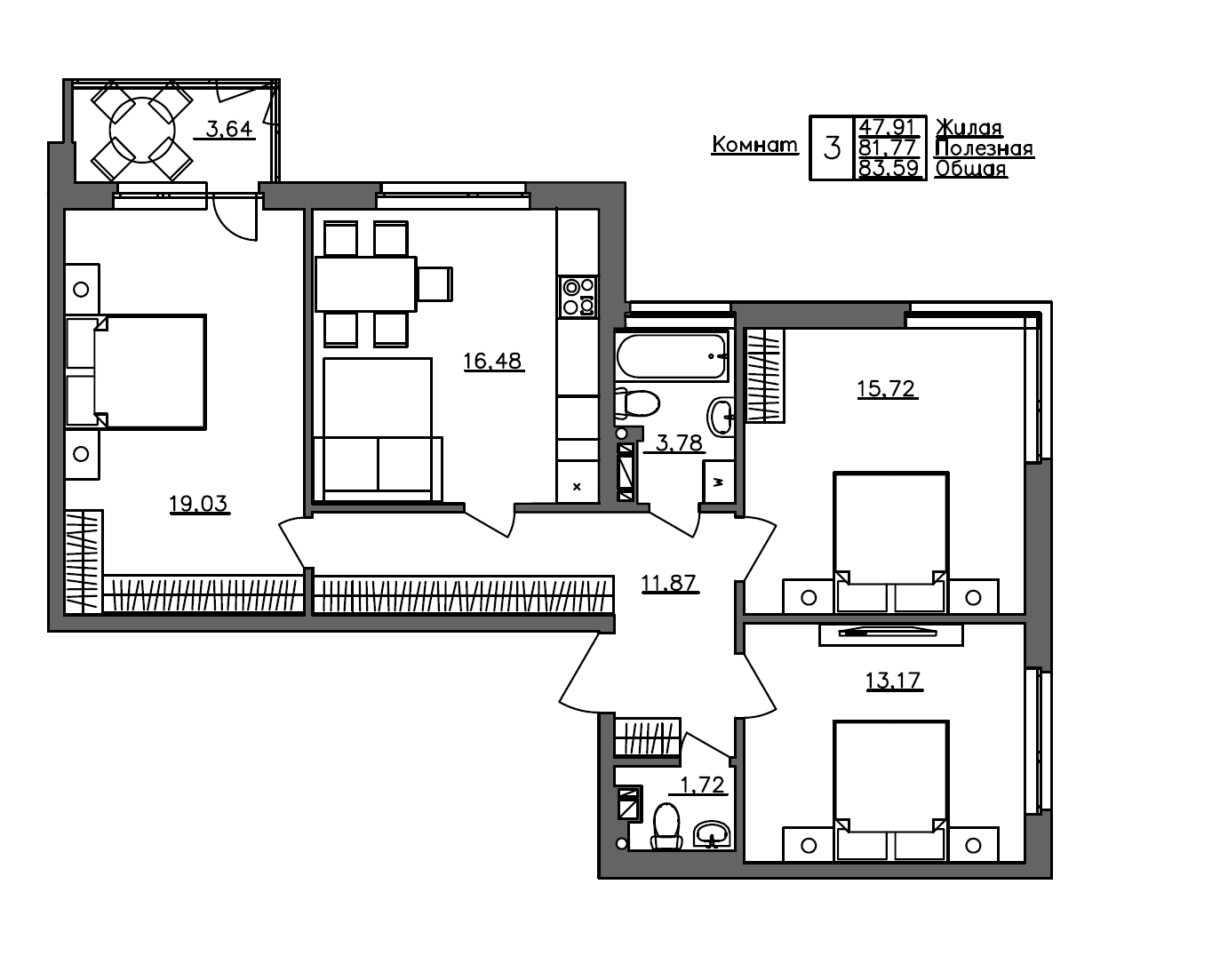 4Е-к.кв, 83.59 м²