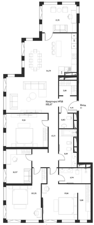 5-комнатная, 182.67 м²– 2