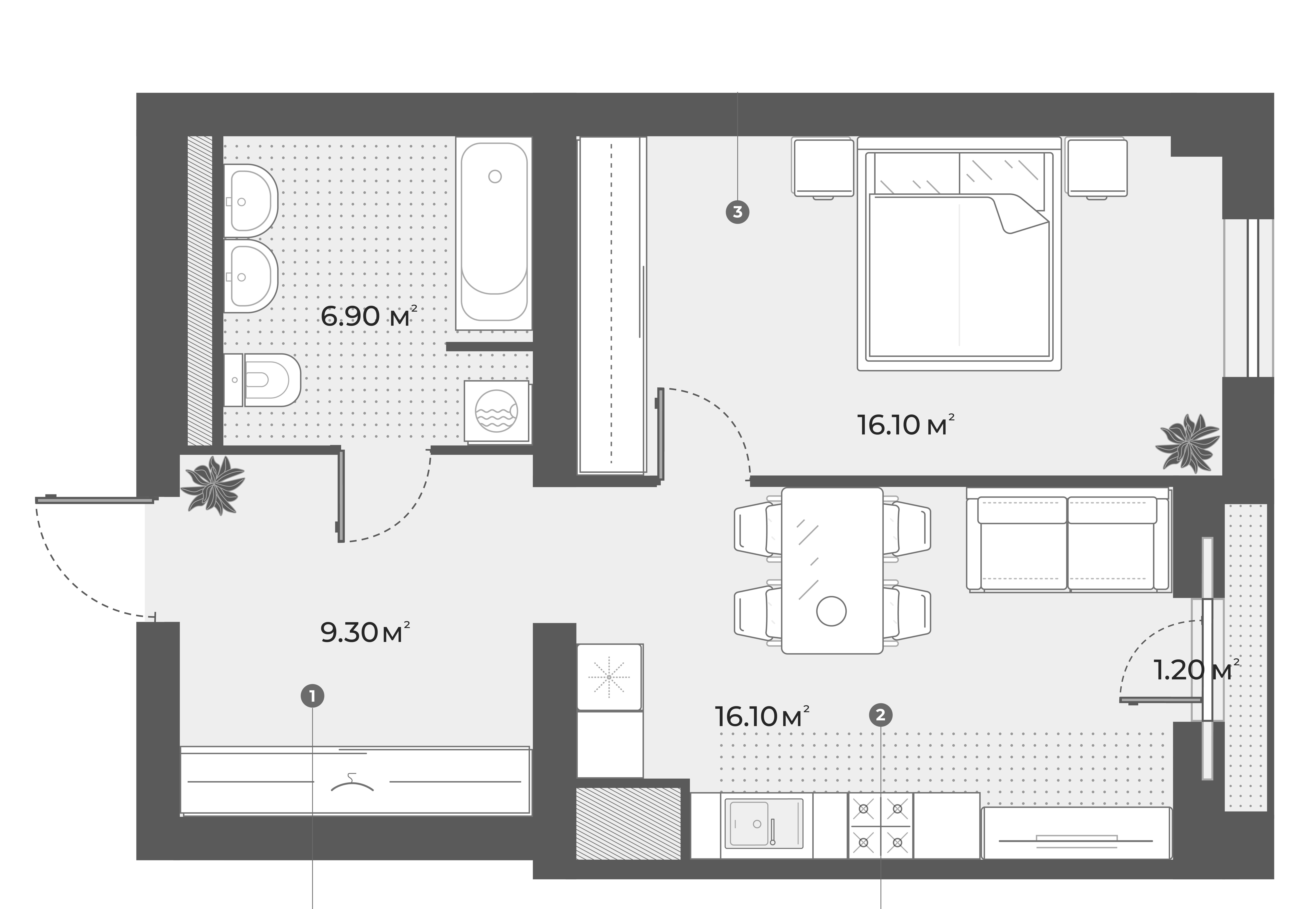 2Е-к.кв, 48.4 м², 2 этаж