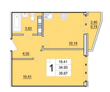 1-комнатная, 34.93 м²– 2