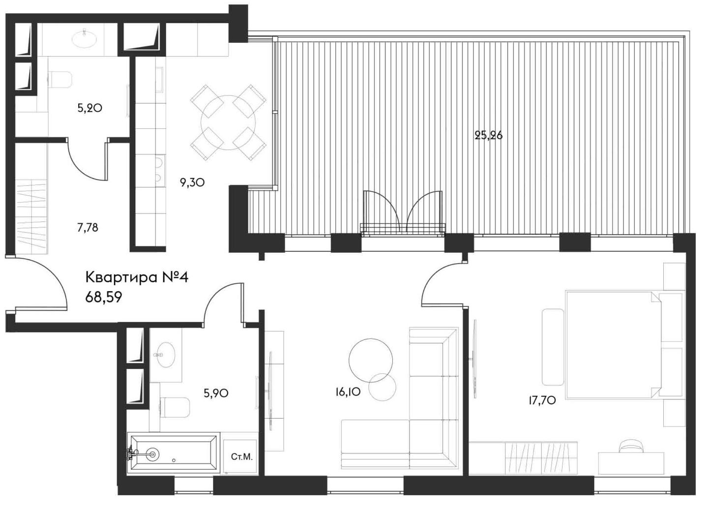 2-комнатная, 68.59 м²– 2