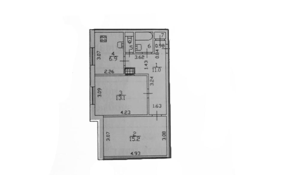 2-к.кв, 50.5 м²