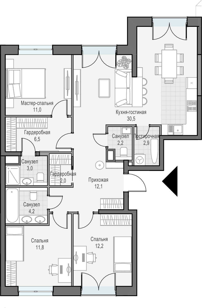 4Е-комнатная квартира, 97.2 м², 21 этаж – Планировка