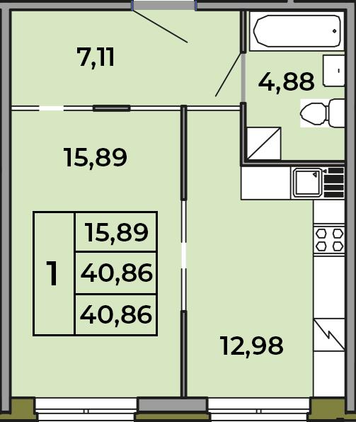 1-к.кв, 40.86 м²