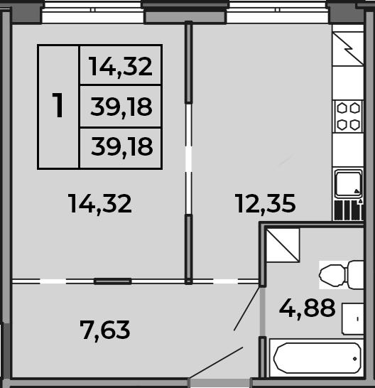 1-к.кв, 39.18 м², 1 этаж