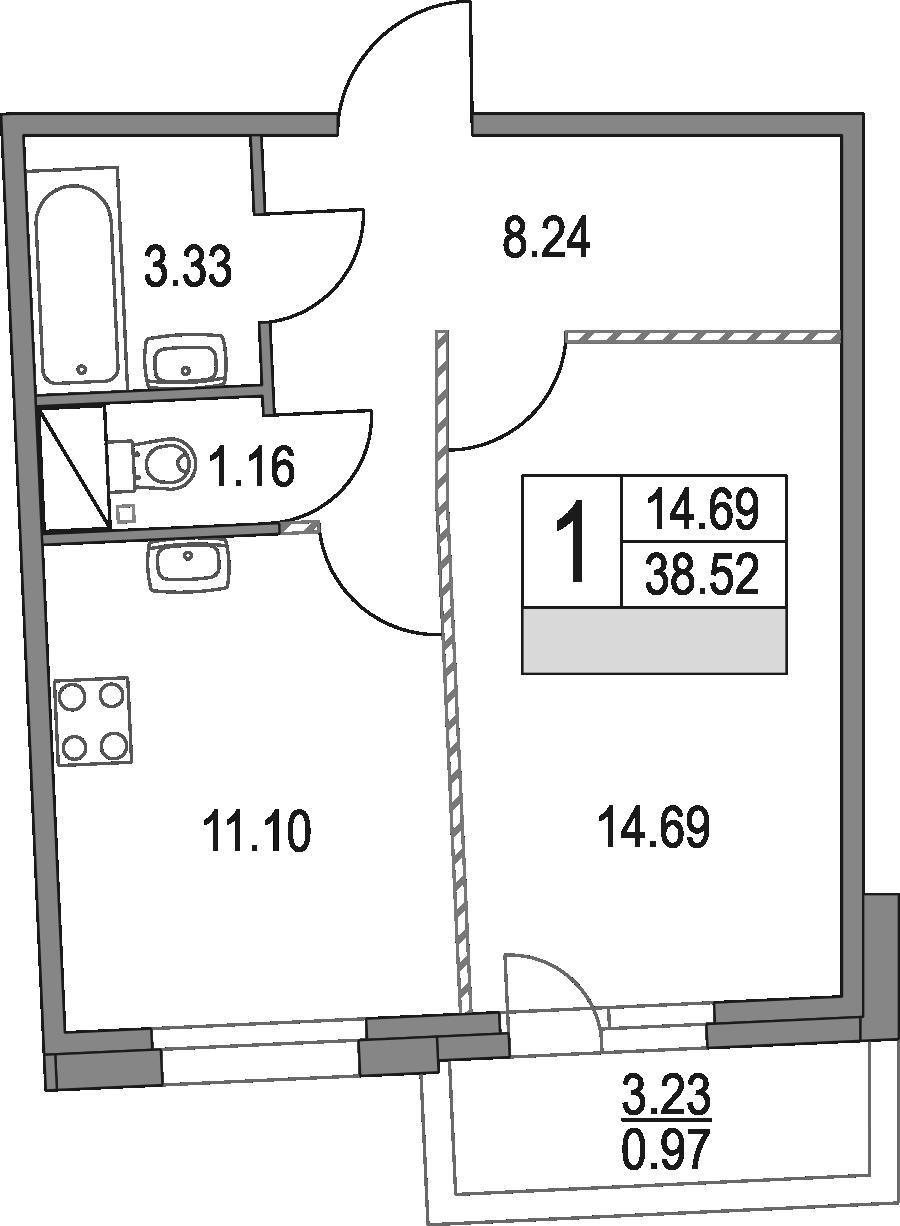 1-к.кв, 38.52 м², от 2 этажа
