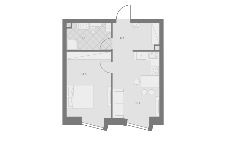2Е-комнатная, 41.5 м²– 2