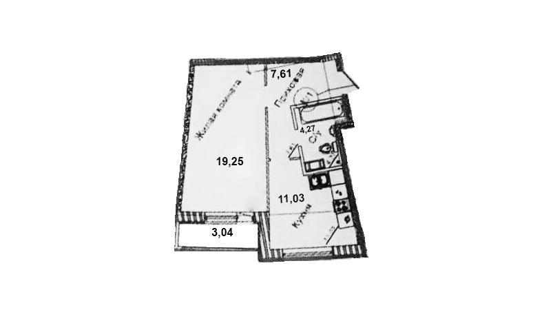 1-комнатная, 43.68 м²– 2