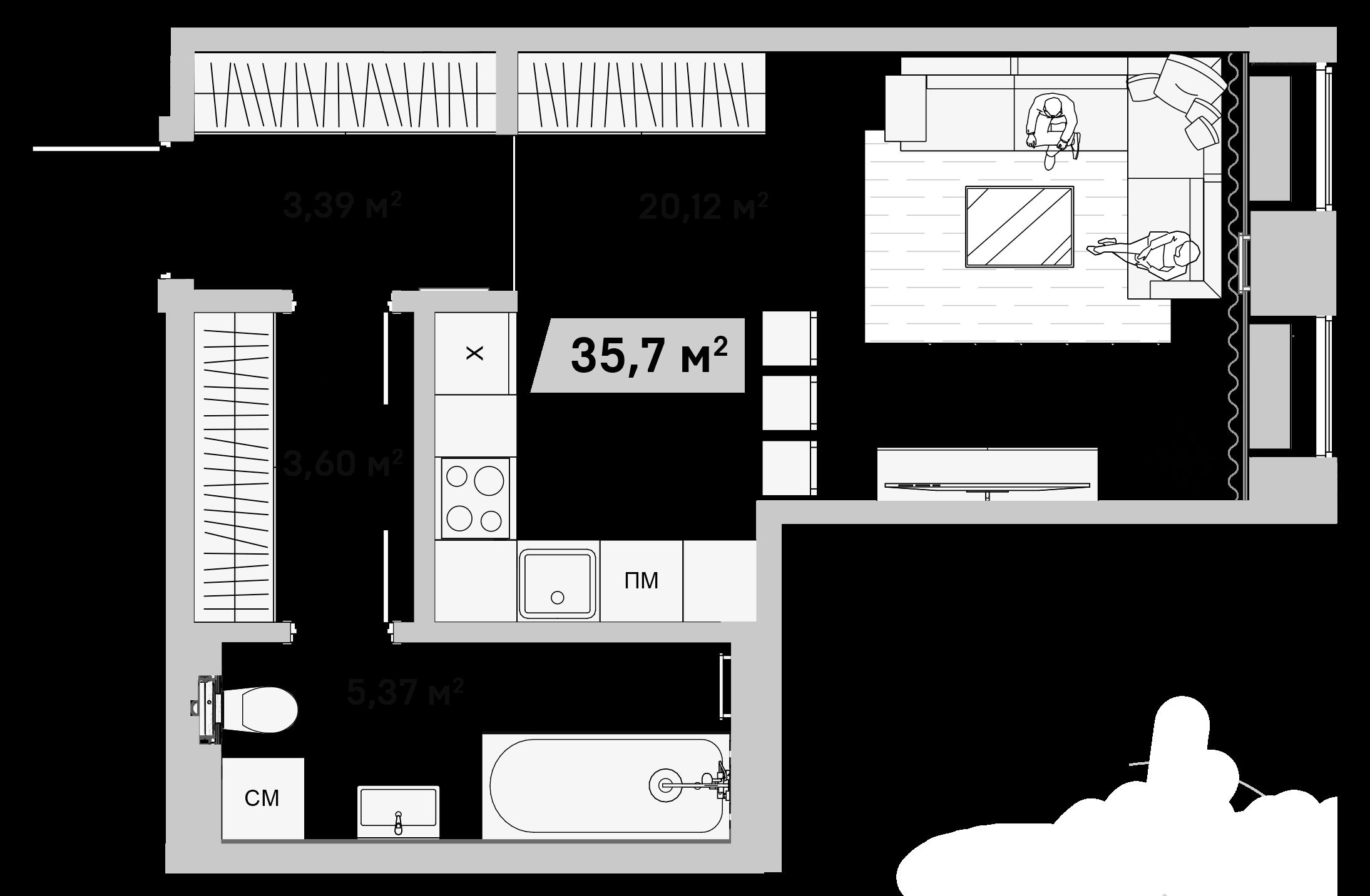 Студия, 35.7 м²– 2