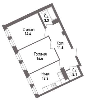 2-к.кв, 58.1 м²