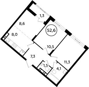 3Е-к.кв, 52.6 м², 16 этаж