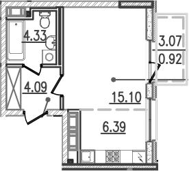 Студия, 32.98 м²