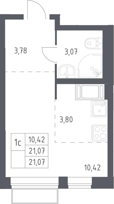 Студия, 21.07 м²– 2