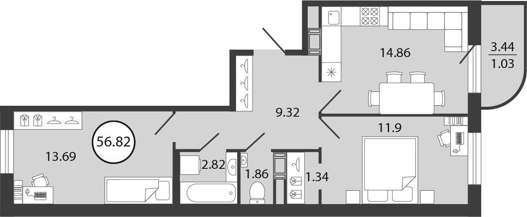 3Е-к.кв, 56.82 м²