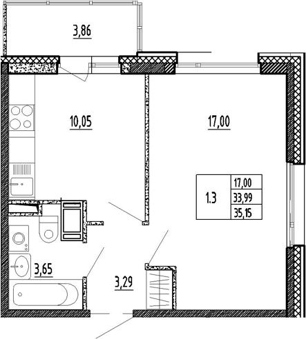 1-к.кв, 37.85 м²