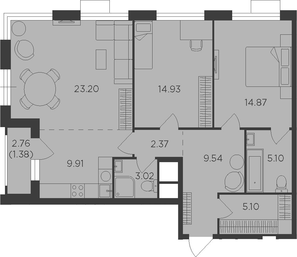 3Е-комнатная, 89.42 м²– 2