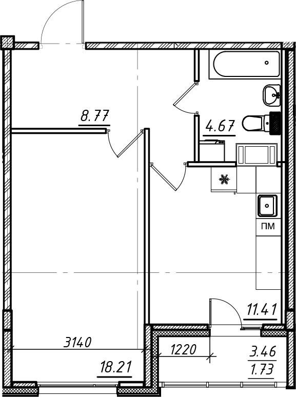 1-комнатная, 44.79 м²– 2