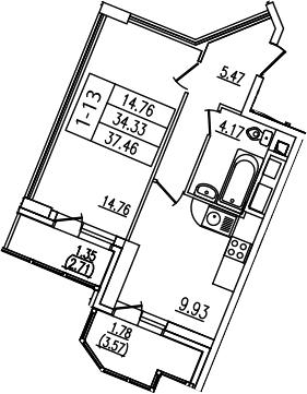 1-комнатная, 37.46 м²– 2
