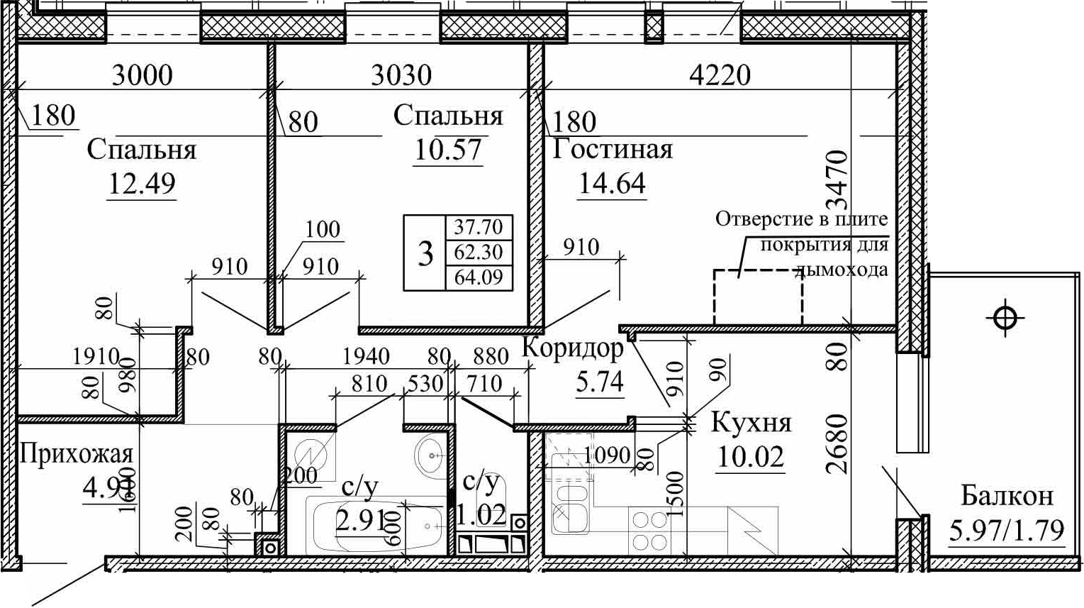 3-к.кв, 64.09 м²
