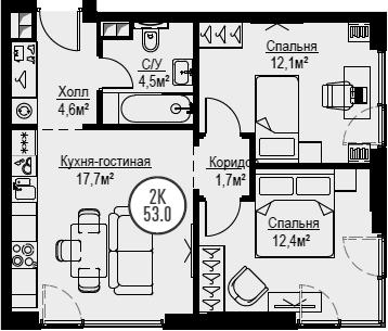 3Е-комнатная, 53 м²– 2