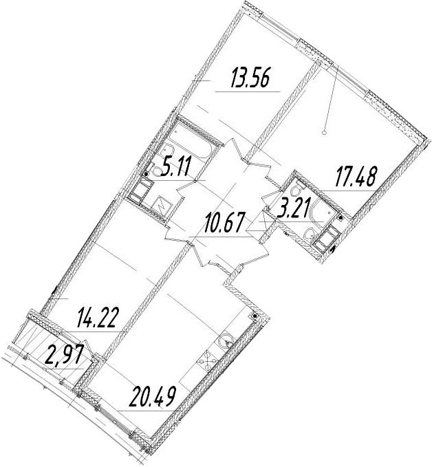 4Е-к.кв, 86.23 м², 13 этаж