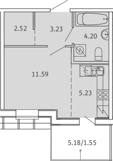 Студия, 28.32 м², 5 этаж
