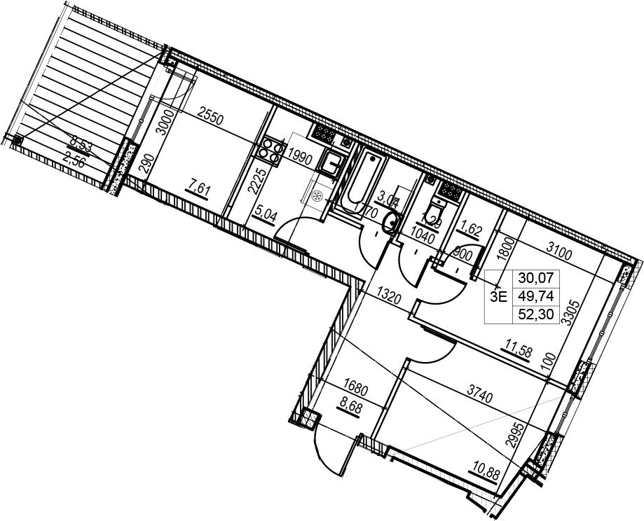 3Е-к.кв, 52.3 м², 7 этаж